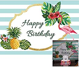 Baocicco Tropical Theme Happy Birthday Backdrop 7x5ft Photography Background Pink Green Palm Leaves Pineapple Blooming Flowers White and Blue Stripes Backdrop