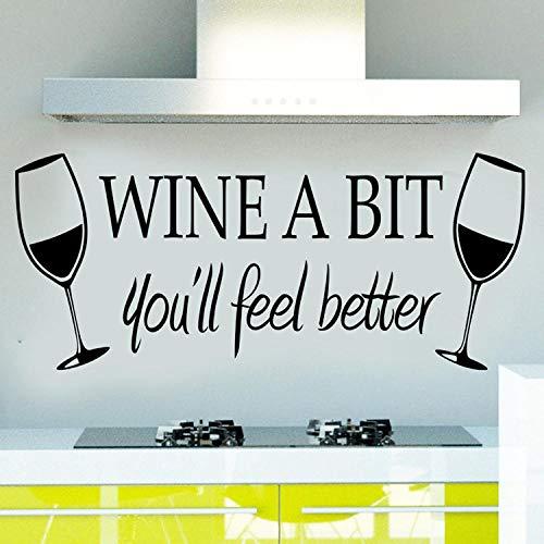 Muurstickers-Drink wat rode wijn, je zult je beter voelen rode wijnbeker 24 x 55 cm posters/muurschilderingen/muursticker/muursticker
