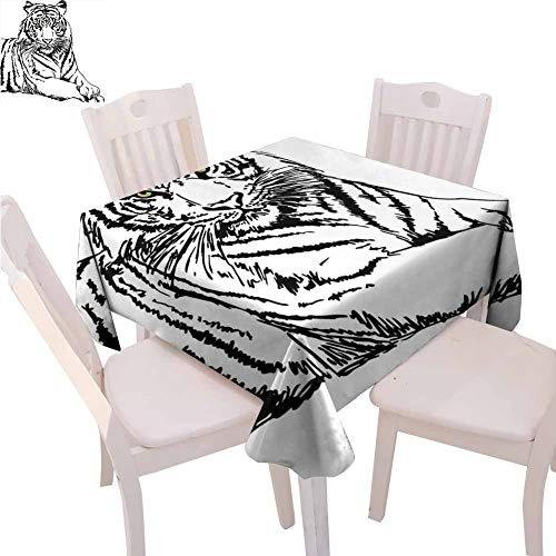 Safari - Mantel cuadrado para cocina, diseño de tigre posando ojos afilados más grandes especies de gatos oscuras con rayas verticales, lavable a máquina, 127 x 127 cm, color negro y blanco