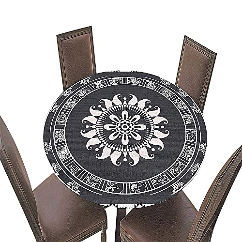 Fansu Impermeable Redondo Mantel con Borde Elástico, 3D Mandala Impresión Mantel de Mesa Elástica Ajustada Cubierta de Mesa para Picnic Comedor Cocina Restaurante Cena (Gris Oscuro,Diámetro 120cm)