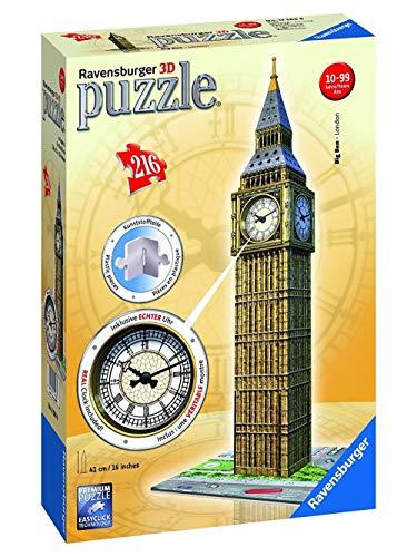 Ravensburger 3D Puzzle Bauwerke Big Ben Mit Uhr, Night Edition, Kinderpuzzle, Erwachsenenpuzzle, Puzzlespiel, Easy Click Technology, Inklusive Echter Uhr, 216 Teile, 12586 9