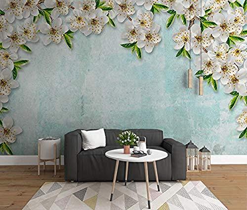 ZJfong muur muurschildering 3D effect behang vers blauw kersen graan bloesems ontwerp muurschilderingen behang decoratie 70 cm.