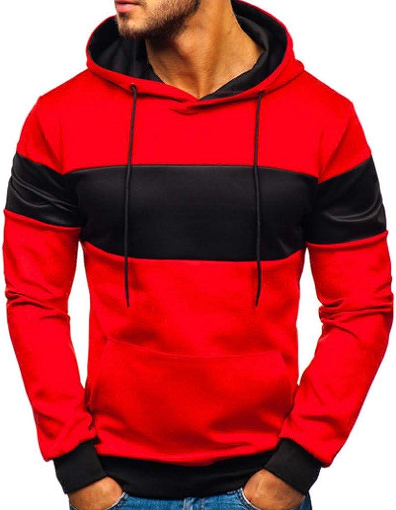 Moxiu Mens Tops Mens Casual Pullover Patchwork Slim Fit Hoodie Outwear Drawstring Sanitary Sweatshirt with Pocket