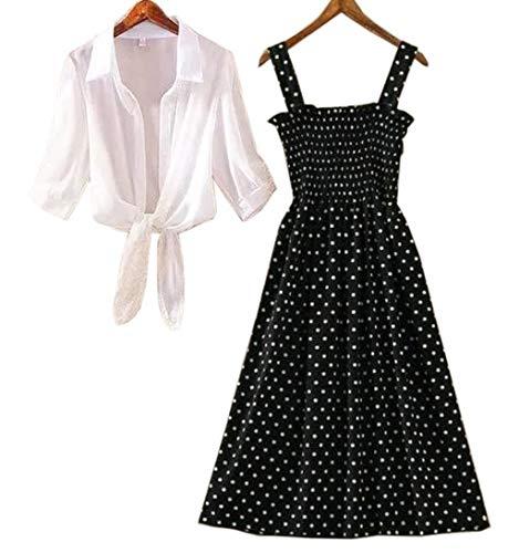 Sadatapan Designer Stylish Striped Polka Dot Printed Dress with White Shirt for Women/Girls