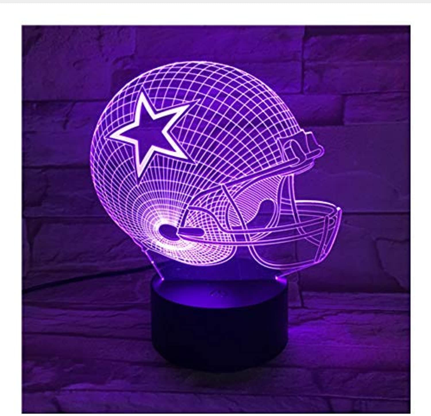 BMY Cowboys Helme3D Led Lamp 7 colors Change Acrylic USB Led Table Lamp Kids Gift Creative Night Lamp