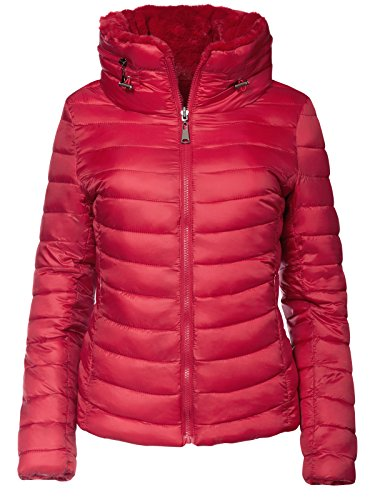 S'West Damen Wendejacke 2in1 Winter Steppjacke Fell GEFÜTTERT Mantel KURZ Skijacke, Farbe:Rot, Größe:S