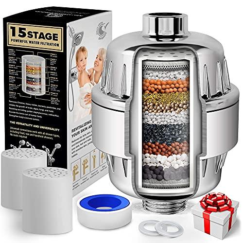AquaHomeGroup 15 Stufen Duschfilter mit Vitamin C - Wasserfilter Dusche zur Entfernung von Chlor und...