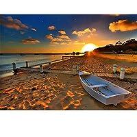 日没のキャンバスビーチにプリント風景写真風景キャンバス絵画リビングルームの装飾のための壁のポスター30x40cmフレームレス