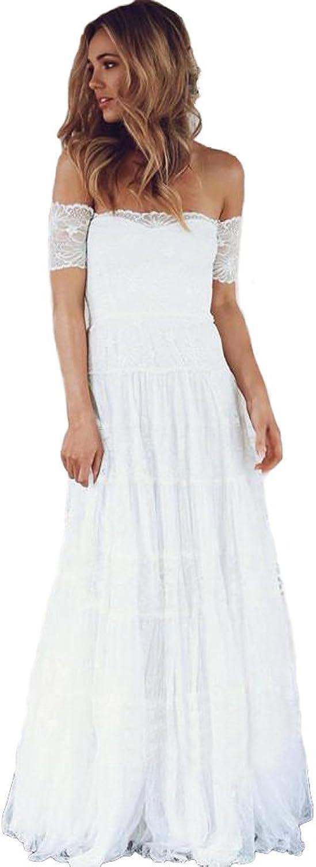 Modeldress Boho Wedding Dresses 2018 Off Shoulder Lace Wedding Dresses