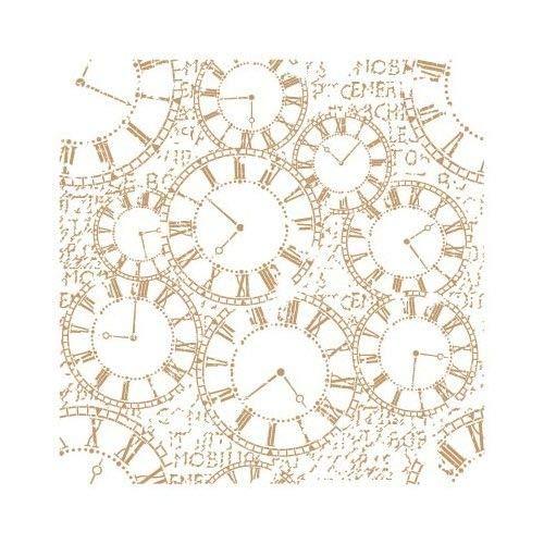 TODO-STENCIL Stencil Deco Fondo 129 Relojes Medidas exteriores: 25x25 Medidas internas diseño 22 x 22cm