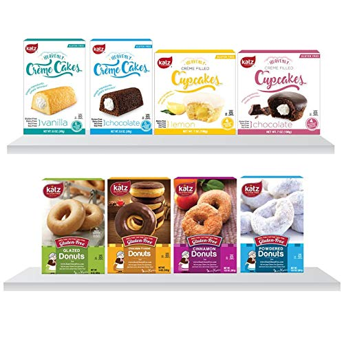 Katz Gluten Free 8 Pack, 2 Crème Cakes, Vanilla and Chocolate, 2 Crème Cupcakes, Lemon and Chocolate, 4 Flavors Donuts | Dairy Free, Nut Free, Soy Free, Gluten Free | 1 Pack of each