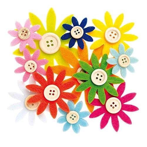 Glorex 6 7101 335 - Filzblumen mit Holzknöpfen, 12 Stück, bunt sortiert in verschiedenen Größen von ca. 3,5 - 7 cm, zum Basteln und Dekorieren