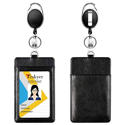 Teskyer 2 Pack Heavy Duty Retractable Badge Holders with Carabiner Reel Clips, Vertical Durable Leather ID Card Holders, 24 inches Thick Kevlar Pull Cord