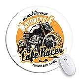 Rundes Mauspad Biker Cafe Racer Abzeichen Fahrrad Classic Custom Emblem Label Rutschfeste Gummibasis Mausmatte Gaming Mousepad für Computer