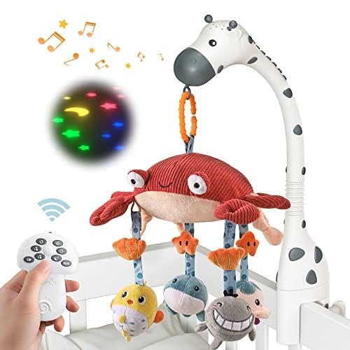 tumama Control remoto móvil cuna musical espejo de animales suaves para colgar luces de cuna proyector giratorio para dormir, piano, apagado automático, mute Spin Motor regalo para recién nacido