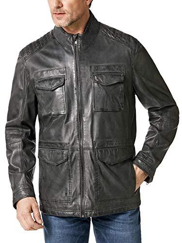 Walbusch Herren 9 Taschen Lederjacke einfarbig Felsgrau 48