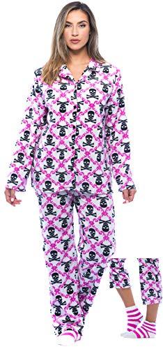 6370-10236-M #FollowMe Printed Microfleece Button Front PJ Pant Set with Socks,White - Skull Brocade,Medium