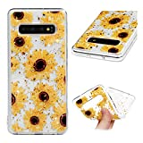 Galaxy S10 Case, Bling Shiny Glitter Shimmer TPU Case Colorful Painting Shock Resistant Flexible Soft TPU Rubber Bumper Gel Back Shell Ultral Slim Protective Cover for Samsung Galaxy S10 Sunflowers