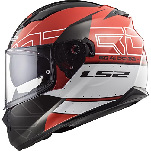 LS2 - Casco de moto, talla M, color rojo y negro