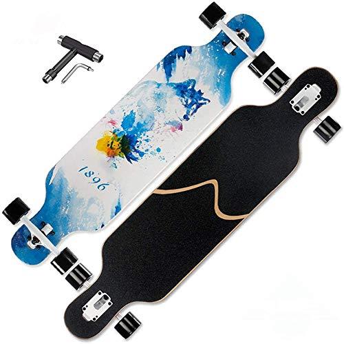 PXQ Patineta Long Boards, 41 Pulgadas Longboard Skateboard Complete Skateboard Cruiser para Crucero, Talla, Estilo Libre y Descenso con T-Tool,B
