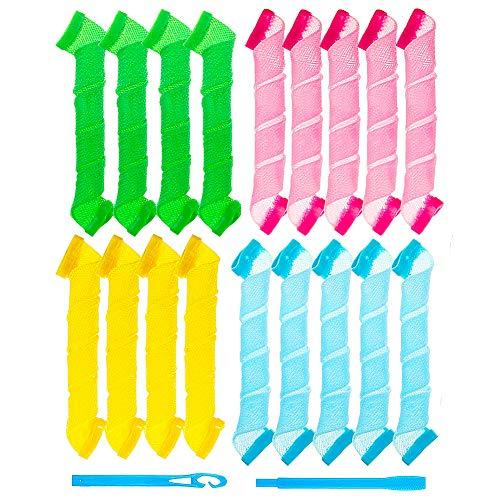 CHEPL 19 Pezzi Ferro Arricciacapelli a Spirale Magica Fai-da-te, Ferro Arricciacapelli Flessibile Non Termico, con Gancio per lo Styling (Multicolore)