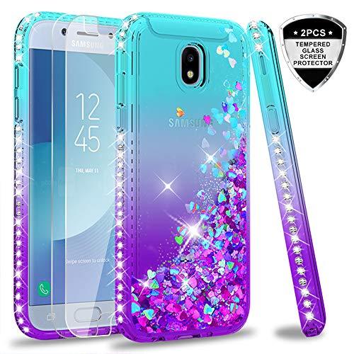 LeYi Hülle Galaxy J5 2017 Glitzer Handyhülle mit Panzerglas Schutzfolie(2 Stück),Cover Diamond Rhinestone Schutzhülle für Case Samsung J5 2017 Pro Duos Handy Hüllen ZX Gradient Turquoise Purple