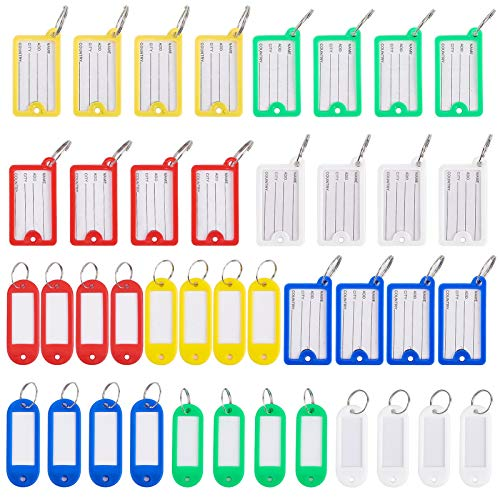 GORGECRAFT 40PCS Key Tags Plastic Oval & Rectangle Id tag Key Ring for Luggage Pet Name Memory Stick Tags, 5 Colors