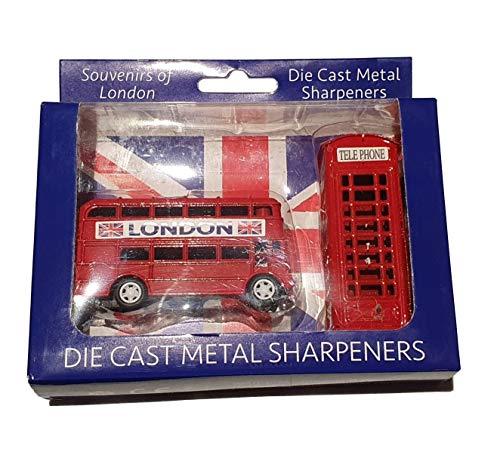 London Bus en Telefoon Box Potloodslijper Set - Die Cast Metaal/Rood Dubbeldekker Routemaster en Telefoon Booth/Britse Souvenir uit Engeland UK/voor School Thuis of Kantoor