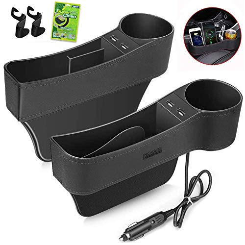 Inovare Designs Car Seat Gap Filler Side Insert Multifunctional Center Console Pocket Organizer and Storage Between Front Seats Extra Cup Drink SunglassPhone Holders USB Model  2 Pack