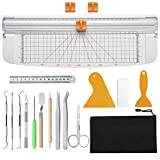 Dorhui Essential Tool Set, Craft Basic Set Craft Vinyl Tools with 12 inch Paper Trimmer Scrapbook Cutter for Weeding Vinyl, Silhouettes, Cameos, Lettering
