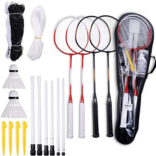 Blesseza Badminton SetBadminton Racket of 4 Players with Portable Badminton Net and Badminton Birdie amp Storage Travel Bag  Perfect for Backyard Lawn Outdoor Game for Adults and Kids