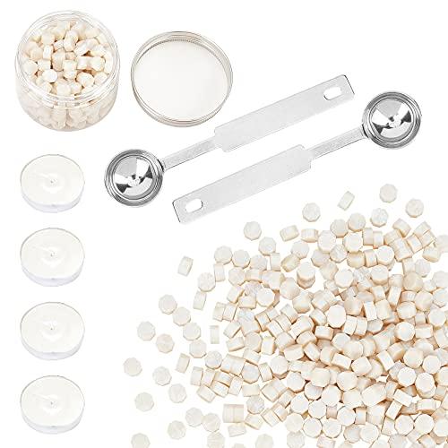 CRASPIRE 300PCS Kit de Cuentas de Sello de Cera Blanco Claro, Juego de Perlas de Cera para Sellar Empaquetadas En Contenedor, 2 Cuchara para Derretir Cera Y 4 Velas para Sello de Cera