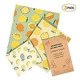 iTrunk Bees Wrap Wachspapier 3er-Pack, Wachspapier für Lebensmittel, Nachhaltige, Kunststofffreie Lagerung von Käse, Obst, Gemüse und Brot (1x Klein/1x Mittel/1x Groß)