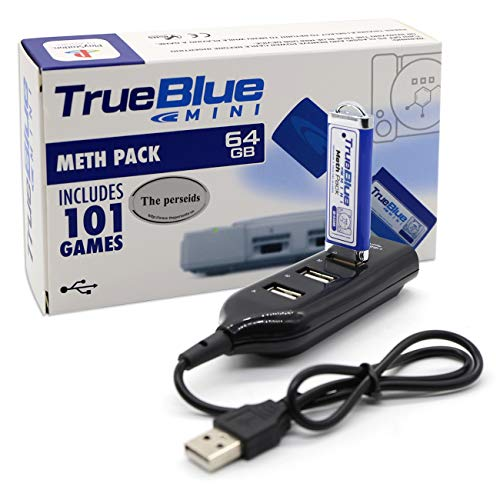 The perseids True Blue Mini Meth Pack für Playstation Classic, 64GB USB Spiele Speicherstick mit 4-Port Hub - 101 Spiele (Meth Pack)