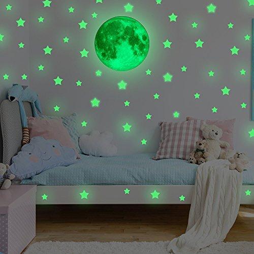 Feskin Wandsticker 30cm Mond und Sterne Sticker, Wandaufkleber Fluoreszierend & im Dunkeln Leuchtend für Kinderzimmer und Babyzimmer Decke