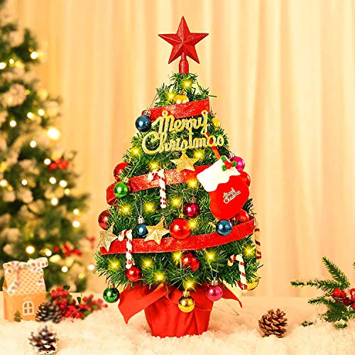 22'' Tabletop Mini Christmas Tree Set with 50 LED Lights, Red Star Treetop and 39 Christmas Tree Ornaments for DIY Christmas Decorations (Battery Operated)