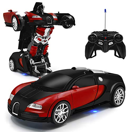 Zahooy RC Car Robot Transform Model Toy,1:18 Red Remote Control Deformed Vehicles,Racing Automobile Deformation with Realistic Engine Sounds&One-Button Transformation&360°Speed Drifting for Boys Girls