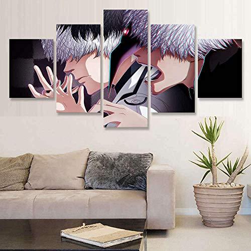 5 pinturas de arte de parede em tela, arte grande, arte de parede, imagem 5 Tokyo Ghoul RE Haise Sasaki Vs Ken Kaneki módulo de pintura moldura para sala de estar DDZZYY