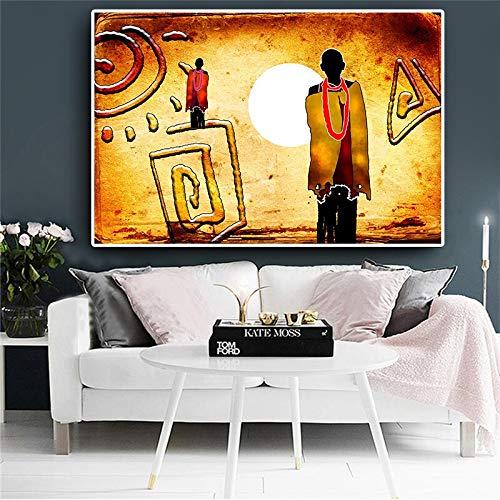 sanzangtang Abstraktes Landschaftsölgemälde auf afrikanischer Leinwand. Bild der Afrikaner. Geometrische Poster und Drucke. Wohnzimmer Wandkunst rahmenlose Malerei 20cmX30cm
