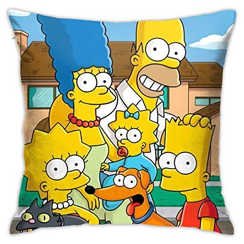 S-i-mpsons - Fundas de cojín decorativas cuadradas para sofá, sala de estar, sofá cama, con cremallera invisible, 45,7 x 45,7 cm