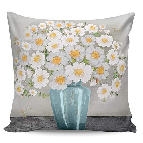 Scrummy Fundas de almohada de 60,96 x 60,96 cm, estilo de pintura al óleo, hermosa flor azul, fundas de almohada decorativas para decoración del hogar