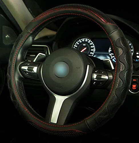 Steering Wheel Cover with 3D Honeycomb Hole Anti-Slip Design, 15 Inch Universal (Standard Size[14 1/2''-15''], Red)