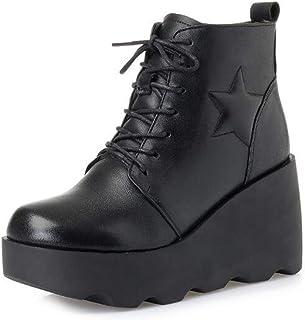 女性のブーティー、新しいコットンブーツヨーロッパのアメリカンスタイルのレザーブーツ女性の冬のブーツぬいぐるみブーツラウンドヘッド厚いボトムウェッジシューズ (色 : ブラック, サイズ : 37)