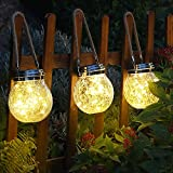 VENTUOS Solar Lantern, set 2 ,30 LED Hanging Glass Jar Solar Lights Outdoor Waterproof Glass Lantern Table Lamps Great Outdoor Lawn Décor for Patio Garden, Yard and Lawn. (Warm White Light) pack of 1