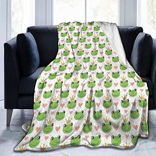 Manta mullida, diseño de corazones de dibujos animados y ranas, ilustración de cuento de hadas con puntos, manta de bebé ultra suave, para dormitorio, cama, TV, cama de 50 x 40 pulgadas