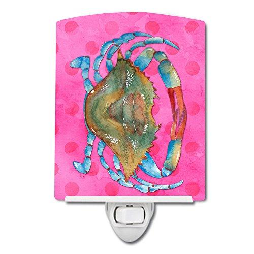 Caroline's Treasures BB8249CNL - Lámpara de noche de cerámica, diseño de cangrejo, color rosa, multicolor