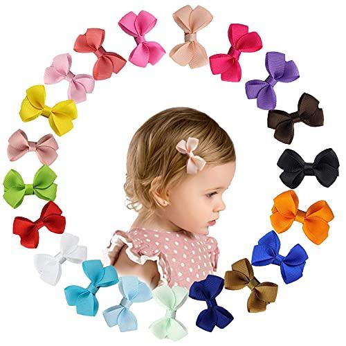20 Colores Lazos para el Cabello con Cinta de Grogrén para Niña, Bebé,Mini Pinzas de Cocodrilo,Totalmente Cubiertos Horquillas de Clip para el Pelo