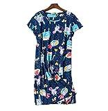 Nachthemd Damen Baumwolle Kleid Sommer Nachtwäsche Negligees Kurzarm Rundhals Schlafhemd extra lang elegant große größen