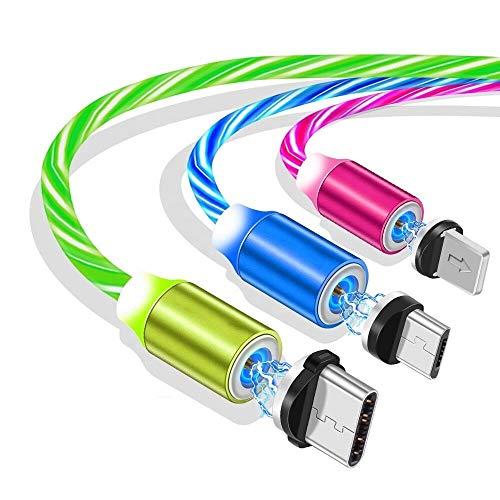 Ruibo Sike Câble USB magnétique 3 en 1, 2,4 A haute vitesse USB vers micro USB – Câble de charge LED fluide, câble de charge Android bleu