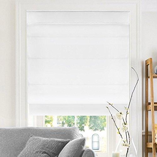 "CHICOLOGY Cordless Roman Shades Modern Fabric Cascade Window Blind Treatment, 29""W X 64""H, Belgian Snow (Privacy & Light Filtering)"